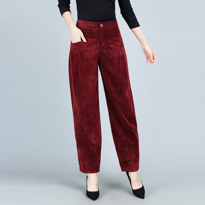 Hot women's casual pants 2019 spring new high waist large size corduroy fashion casual