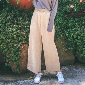 Women casual pants Wide Leg Pants Elastic Waist Autumn New Loose Brief Pockets