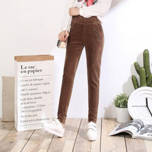 2018 Spring Fashion Velvet High waist woman corduroy pants casual pants  trousers