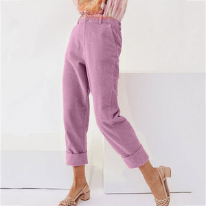 Autumn Winter Women Fashion Solid Corduroy Full Length Button Fly Pants With