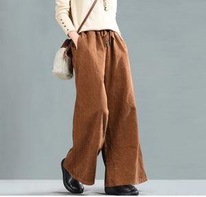 Spring pants Women Large size Loose Drawstring Trousers New Corduroy Blended