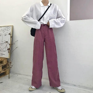 Vintage Corduroy Solid Wide Leg Pants Women Plus Size Casual Trousers Femme