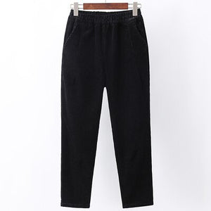 Spring Womens elastic waist white corduroy pants Ankle-Length Pants female harem