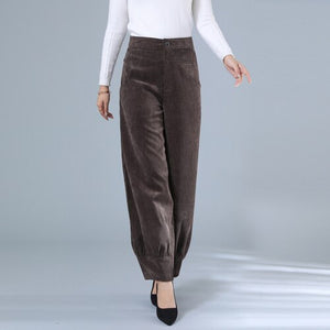 Autumn and winter Korean corduroy pants women's casual trousers mother autumn