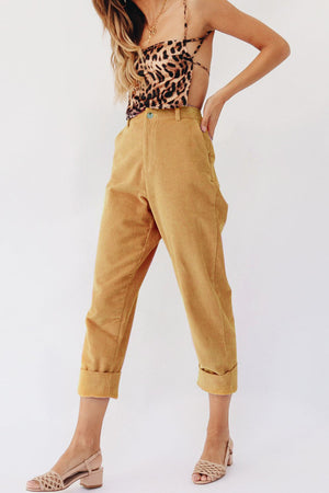US Women Pencil Stretch Casual Corduroy Skinny Pants High Waist Jeans Trousers