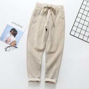 Beige corduroy pants female spring and autumn new loose striped elastic waist casual