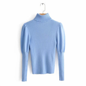 blue women knitted turtleneck sweater fashion ladies elegant slim pullovers sweaters woolen blended female top party girls chic