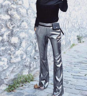 BKLD Autumn Pants For Women High Waist Wide Leg Pants Solid Silver Flare Pants Casual Sexy Party Glitter Pants Trousers Women