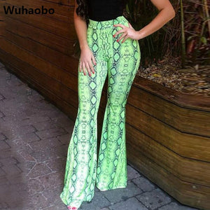 Wuhaobo Snakeskin Pattern Flare Leggings High Waist Trousers Autumn Winter Women Fashion Christmas Party Elasticity Casual Pants