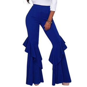 Stylish Women Party Casual Micro Bell-Bottom Full Length High Waist Ruffled