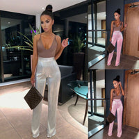 Womens Sequins High Waist Zipper Wide Leg Pants Party Sparkly Silver Trousers Ladies Solid Loose Casual Pants Female