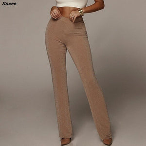 Xnxee Autumn High Waist Wide Leg Pants Women Winter Solid High Elastich Flare Pants Skinny Casual Sexy Party Trousers Women