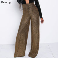 Womens Fashion Wide Leg Flare Pants Female Casual High Waist Zipped and Buttoned Bright Party Pants Bodycon Trousers 2019 PA51