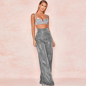 Women High Waist Shiny Wide Leg Pants Night Club Zipper Sexy Casual Clubwear Fashion Party