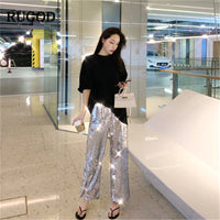 RUGOD Fashion women pants sequined wide leg elastic waist party wearing harajuku style modis femme trousers pantalon mujer