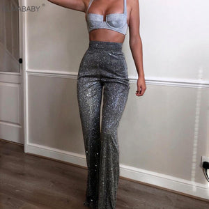 RLMABABY Silver Sparkly Wide Leg Pants Casual Zipper High Waist Pant Women Trousers Fashion High Streetwear Club Party Sexy Pant