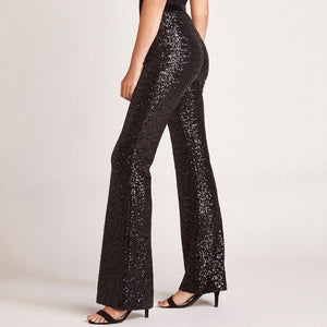 Sexy Sequin Pacthwork Pants Casual Women High Waist Wide Leg Long Pants Ladies Party Club Sparkly Glitter Sequin Trousers 2019