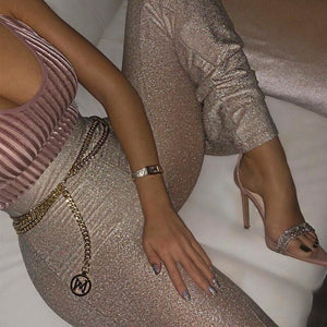2019 Autumn High Waist Glitter Sparkle Bling Women Wide-Leg Pants Night Office Lady