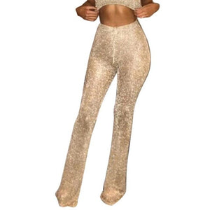 New Fashion Women Casual Glitter High Waist Front Zipper Solid None Pants Spring, Summer Trousers Full Length