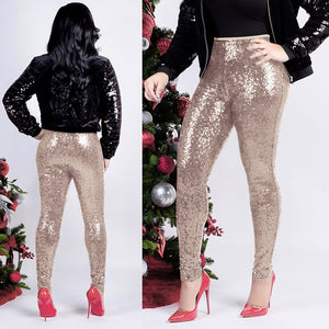 Womens Stretchy Sequins Skinny Leggings Pants Glitter Casual Trousers Custume
