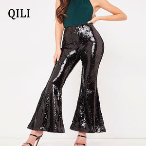 QILI Women Flare Pants Glitter Sequined Trousers Mid Waist Rear Zipper Long Pants New Fashion Womens Elegant Sequin Pants