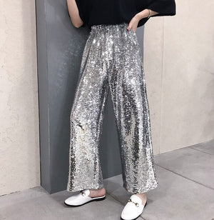 Women Solid Pants Sequined Glitter Loose Wide Leg Pants Slim Hip Hop 2019 New Special Fashion Female Sexy Cool Harajuku Pant