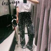 lessverge Sexy sequined loose long pants Women black glitter party club disco