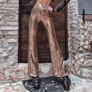 Fashion Women Glitter Trousers Sequin Flared Stretch Bell Bottom Palazzo Pants