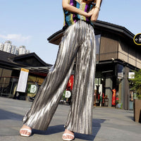Metal Laser Glitter Silver Elastic High Waist Pleated Straight Wide Leg Loose Trouser Korean 2019 Boho Summer Luxury Pant Bottom