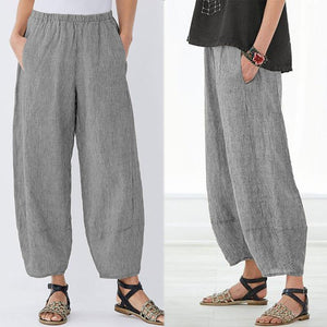 ZANZEA 2019 Women Streetwear Summer Striped Pants Casual Loose Pockets Pantalon Harem Trouser Elastic Waist Sweatpants Plus Size