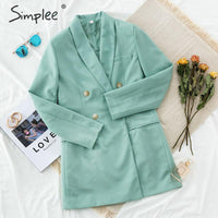 Simplee Double breasted solid women blazer Slim elegant autumn chic outwear
