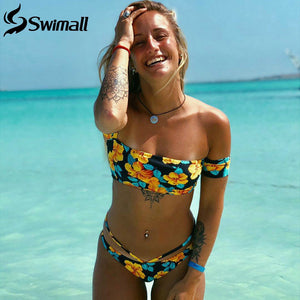 Swimsuit Female High Cut Swimwear Bandage Bathing Suit Beachwear