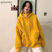 Hoodies Women Hooded Plus Velvet Thicker Long Sleeve Oversize Letter Embroidered Womens Hoodie Harajuku Korean Style Trendy Chic