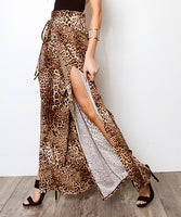 Women Boho Leopard Floral Polka Dot Print Slit Flared Trousers Fashion High Side