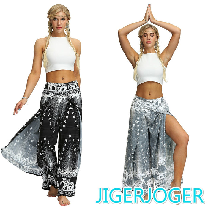 JIGERJOGER Side open PALAZZO PANT Black peacock feather elephant Bohemia Thailand Printed Women's beach pant