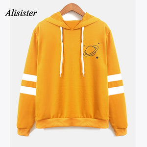 Alisister Autumn Hoodies Women Striped Long Sleeve Planet Print Jumper Drawstring Sweatshirt Hooded Pullovers Oversize for Girls