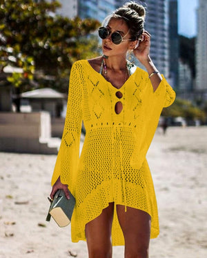 2019 Crochet White Knitted Beach Cover up dress Tunic Long Pareos Bikinis Cover ups Swim Cover up Robe Plage Beachwear