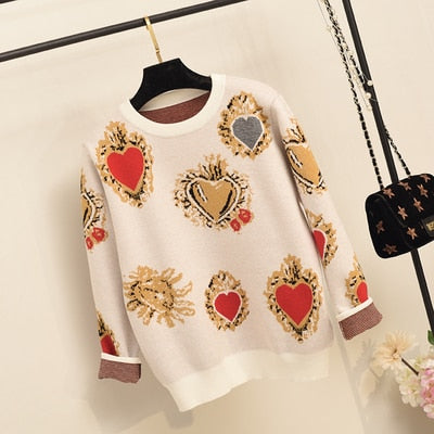 Winter High Quality Love Embroidery Women Knitted Sweater Pullovers Runway Designer Ladies Christmas