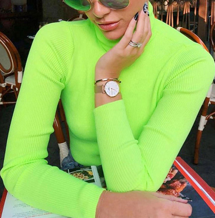 Fluorescent Green Turtuleneck Knitted Sweater Women Autumn Winter Casual Long Sleeve Ribbed Sweater Streetwear Pullovers #0731