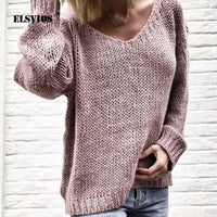 ELSVIOS 3XL Sexy V-neck Long Sleeve Sweater Women Solid Loose Femme Tops Casual Plus Size Knitted Sweater Autumn Winter Pullover