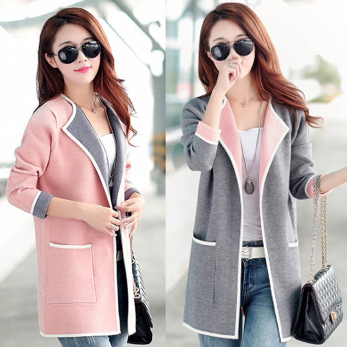 Spring Autumn Women's Korean Slim Sweater Jacket Fashion Joker Medium length Female Long Sleeve Cardigan Large Size Sweater y24