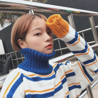 SVOKOR Casual Sweater Women Winter Cotton Keep Warm High Collar Clothes Stripe Loose Knitting Pull Femme Pullovers 2019