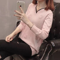 Paris Girl Woman Autumn Winter Women Pullovers Sweater Knitted Casual Jumper Fashion Slim V-Neck Female Sweaters