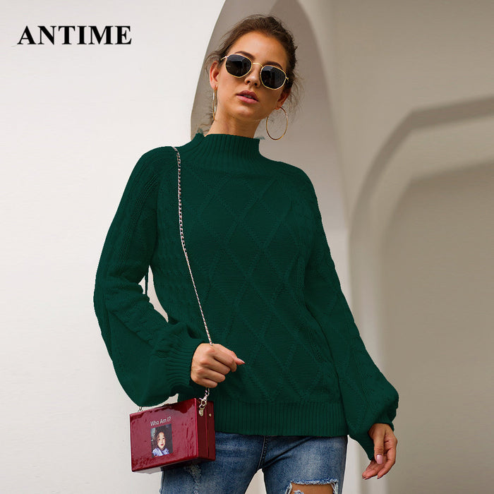 Antime Casual Loose Winter Sweater Women Turtleneck Lantern Sleeve Solid Autumn Knitted Jumper Pullover Female Plus Size