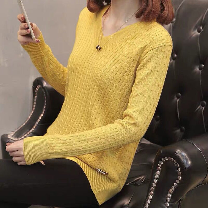 Fanco  women V-Neck knitting sweaters, pullovers solid color leisure new chic lace sweater knitting sweater in winter
