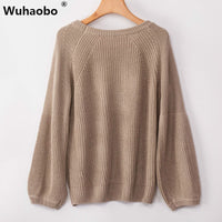 Wuhaobo Autumn Winter Thick Pullover Sweater Women 2019 Fashion Puff Sleeve Korean Knitted Sweater Jumpers Women Tops