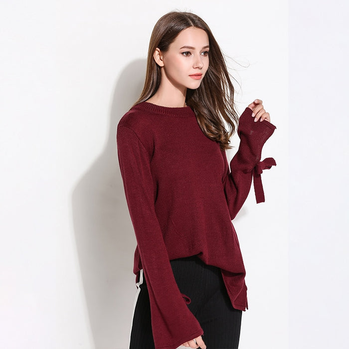 Autumn Knitted Sweaters Women Loose Pullovers O-Neck Bow Long Sleeve Ladies Tops Casual Solid Clothing