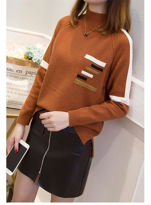 Women's knit sweater 2018 new Autumn winter bottoming shirt Half high collar Pullover sweater female short Wild Casual tops 2219