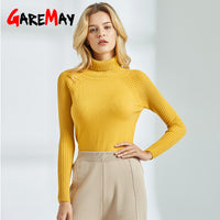 GareMay Yellow Sweater Women Knitted Autumn Winter Women's Jumper White Thick Long Sleeve Turtleneck Sweaters for Women
