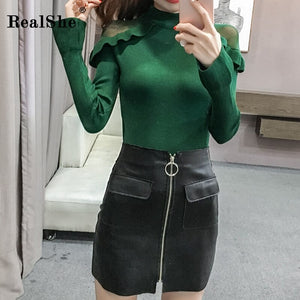RealShe Sweater Women 2019 O-Neck Long Sleeve Ruffles Solid Slim Elegant Sweaters For Women Autumn Winter Sweaters Ladies